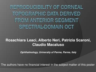 Reproducibility of corneal topographic data derived from anterior segment spectral-domain OCT