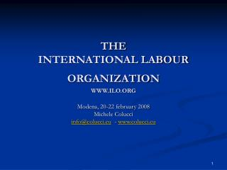 THE  INTERNATIONAL LABOUR ORGANIZATION WWW.ILO.ORG