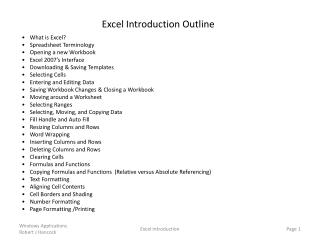 What is Excel ? Spreadsheet Terminology Opening a new Workbook Excel 2007's Interface