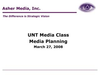 UNT Media Class Media Planning March 27, 2008
