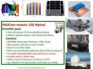 PAUCam mosaic 150  Mpixel Scientific  goal:  Study the  physics  of the accelerating universe