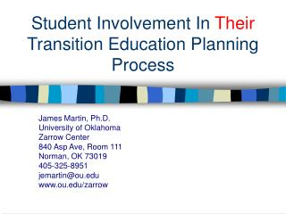 Student Involvement In  Their  Transition Education Planning Process