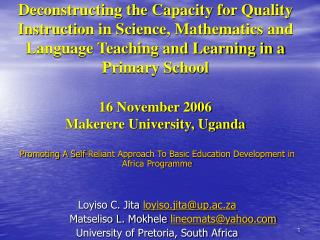 Promoting A Self-Reliant Approach To Basic Education Development in Africa Programme