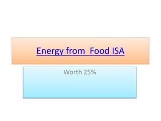 Energy from  Food ISA
