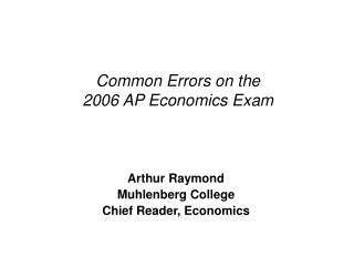 Common Errors on the 2006 AP Economics Exam