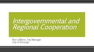 Intergovernmental and Regional Cooperation