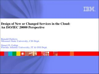 Design of New or Changed Services in the Cloud: An ISO/IEC 20000 Perspective