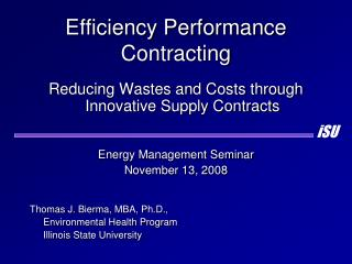 Efficiency Performance Contracting