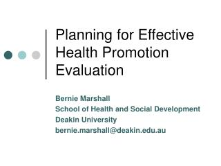 Planning for Effective Health Promotion Evaluation