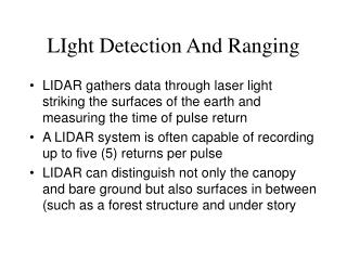 LIght Detection And Ranging