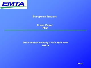 European issues: Green Paper  PSO