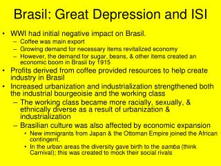 Brasil: Great Depression and ISI