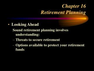 Chapter 16 Retirement Planning