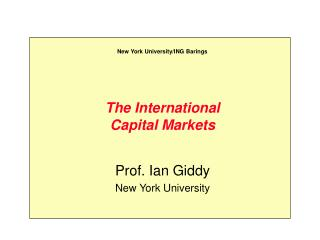 The International Capital Markets