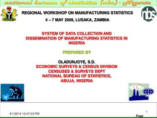 REGIONAL WORKSHOP ON MANUFACTURING STATISTICS 4 – 7 MAY 2009, LUSAKA, ZAMBIA