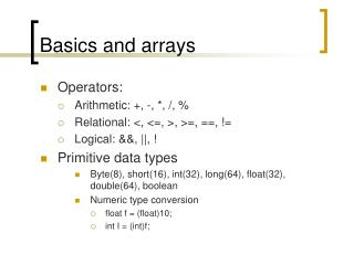 Basics and arrays