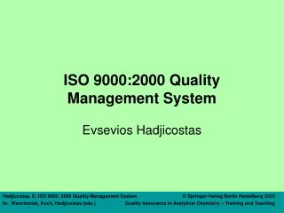ISO 9000:2000 Quality Management System