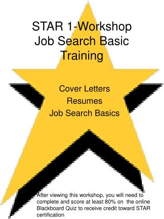 STAR 1-Workshop Job Search Basic Training