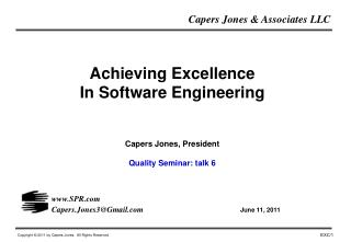 Achieving Excellence In Software Engineering