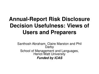 Annual-Report Risk Disclosure Decision Usefulness: Views of Users and Preparers