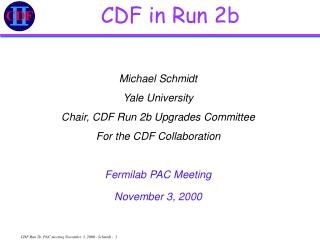 CDF in Run 2b