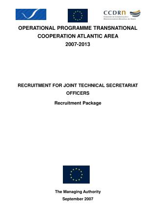 OPERATIONAL PROGRAMME TRANSNATIONAL COOPERATION ATLANTIC AREA  2007-2013