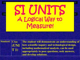 SI UNITS A Logical Way to  Measure!