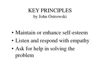 KEY PRINCIPLES by John Ostrowski