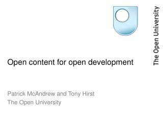 Open content for open development