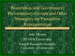 Pastoralists and Governance: Parliamentary Groups and Other Strategies for Pastoralist Representation