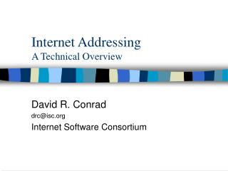 Internet Addressing A Technical Overview