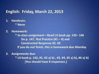 English:  Friday, March 22, 2013