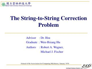 The String-to-String Correction Problem