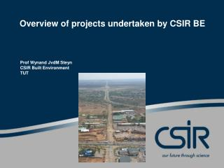 Overview of projects undertaken by CSIR BE