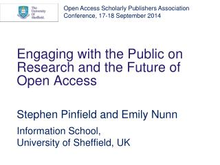 Engaging with the Public on Research and the Future of Open Access