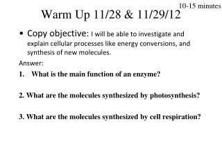 Warm Up  11/28  &  11/29/12