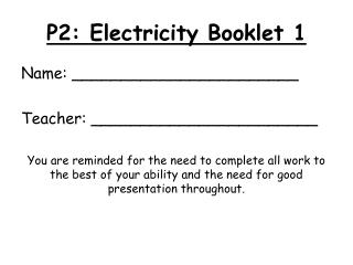 P2: Electricity Booklet 1