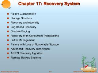 Chapter 17: Recovery System
