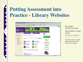 Putting Assessment into Practice  -  Library Websites