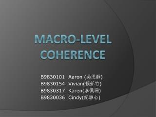 Macro-Level  Coherence