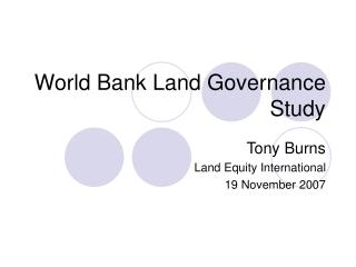 World Bank Land Governance Study