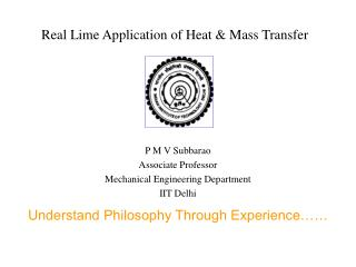 Real Lime Application of Heat & Mass Transfer