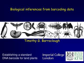 Biological inferences from barcoding data Timothy G. Barraclough