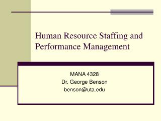 Human Resource Staffing and Performance Management
