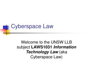 Cyberspace Law