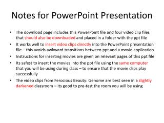 Notes for PowerPoint Presentation