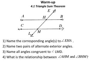 Warm-up 4.1 Triangle Sum Theorem