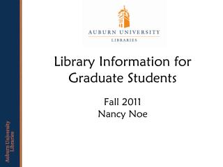 Library Information for  Graduate Students