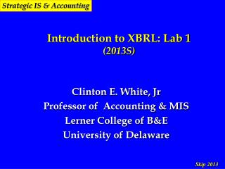 Introduction to XBRL: Lab 1 (2013S)