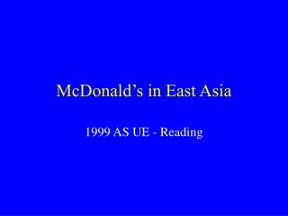 McDonald's in East Asia
